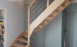 Escalier bois 1/4 Tournant sans contremarches