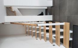 Crémaillères décalées en FRENE OLIVIER – Laqué blanc