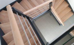 Escalier 2 quart tournant Hêtre lamellé collé
